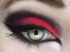 Red and black eye look.  Scary cool.