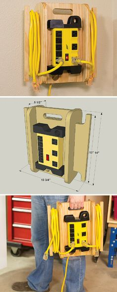 Power up your workspace with this heavy-duty, portable power station. It features an 8-outlet power strip that's mounted to a handy cord organizer that holds two extension cords. You can hang the organizer on the wall, or take the whole thing to wherever you're working to power your tools. Get the free DIY plans at buildsomething.com