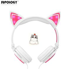 Cheap ear headphone, Buy Quality headphone with led directly from China cat ear headphones Suppliers: SUPOLOGY Cat Ear Headphones with LED Light Cute Cat Ear Gaming Headset for Girls Children Flashing Glowing Gaming Earphones Gaming Headset, Cat Ear Headset, Led Headphones, Led Licht, Funny Gifts, Consumer Electronics, Barbie Stuff, Noise Reduction, Shopping