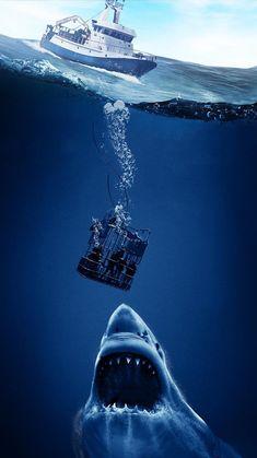 Smurfs: The Lost Village Phone Wallpaper Shark Pictures, Shark Photos, Scary Ocean, Ocean Monsters, Shark Drawing, Shark Cage, Urbane Kunst, Megalodon Shark, Ocean Wallpaper