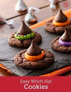 Hosting a Halloween party? Let guests decorate their own witch-y cake-mix cookies. Bake the cookies ahead of time, and when it's time to party, set them out with sprinkles, candy and colored frosting (Halloween Bake) Bolo Halloween, Postres Halloween, Dessert Halloween, Halloween Baking, Halloween Goodies, Halloween Food For Party, Halloween Deserts Recipes, Easy Halloween Treats, Halloween Potluck Ideas