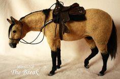 Felted horse statue needle felted horse buckskin horse