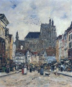 Abbeville Street and the Church of Saint Vulfran, 1894. Eugene Boudin