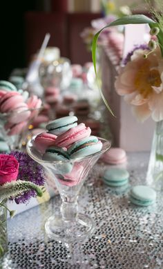 Macarons and sweet treats from a very summery dessert table #weddings