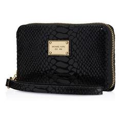 f697ec8c836140 New Michael by Michael Kors MK Black Python Apple iPhone 5 5c 5S Case  Wristlet