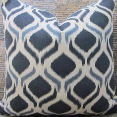 Designer Pillow Cover - Lumbar, 16 x 16, 18 x 18, 20 x 20, 22 x 22 - Geo Peacock Eye Ikat Indigo by 3BModLiving on Etsy https://www.etsy.com/listing/235437279/designer-pillow-cover-lumbar-16-x-16-18
