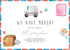 Mail Truck - Moving Announcement #announcements #printable #diy #template #Moving #newaddress #newhome Moving Announcements, Text Messages, Create Yourself, Place Card Holders, Trucks, Invitations, Templates Free, Printable, Island