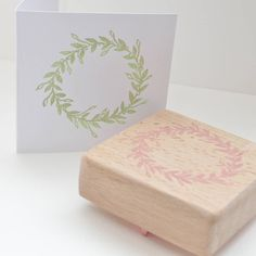 Mistletoe Wreath Hand Carved Rubber Stamp