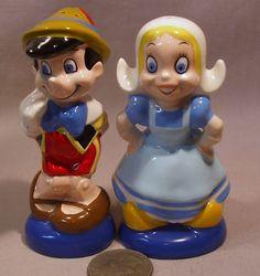 Vintage New England Disney Pinocchio Dutch Girl s P Shakers