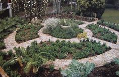 would love a stone path design with herbs and flowers & beautiful vegetable garden!