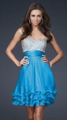 2013 Cheap Short Sparkly Turquoise Layered Prom Dresses