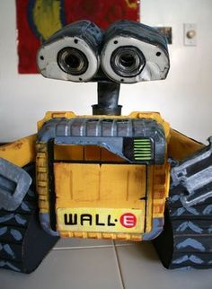 Wall-e made from recycled items around the house.  So aweshume.