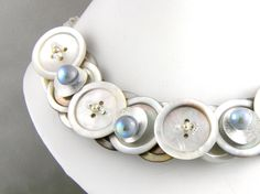 Mother of Pearl Button Necklace Silver Grey
