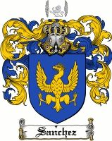 Sanchez Coat of Arms / Sanchez Family Crest gifts at www.4crests.com