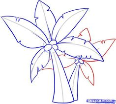 how to draw palm trees step 8 Hawaiian Flower Drawing, Hawaiian Flowers, Palm Tree Leaves, Palm Trees, Drawing Guide, Online Drawing, Arabian Nights, Trees To Plant, Artsy Fartsy