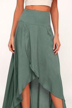 4c5de5b28ec01 Lulus | Ambrosio Dark Sage Green High-Low Maxi Skirt | Size Small Cute  Dresses