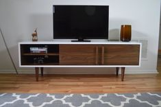 Kasse TV Stand in White / Walnut Combo by STORnewyork on Etsy