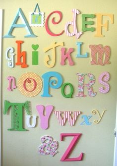 Don't really like the colors, but if you used different bright colors I like the whimsicality of this alphabet set.
