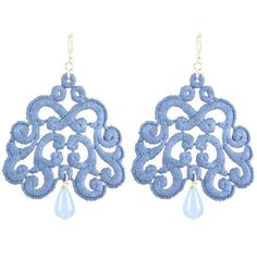 Tita' Bijoux Nuage Denim Lace Earrings ($73) ❤ liked on Polyvore
