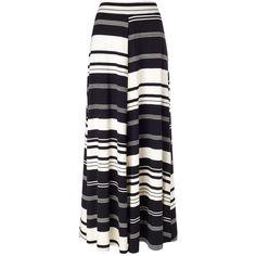 Phase Eight Kat stripe jersey maxi skirt (£69) ❤ liked on Polyvore featuring skirts, black, women, black maxi skirt, floor length black skirt, long black jersey skirt, jersey skirt and black striped skirt
