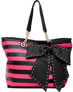 Bow-Lette Striped Tote from Betsey Johnson $118,00