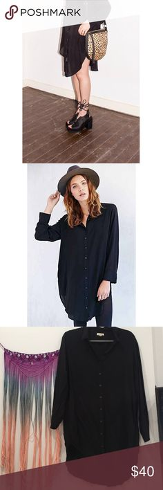 Silence + Noise black shirt dress Adorable shirt dress with pockets. Slightly short at the sides. Looks super cute as a Drea or with leather leggings and booties. So chic and comfortable Urban Outfitters Dresses Long Sleeve