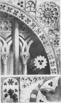 """John Ruskin, The Seven Lamps of Architecture, 1855   Plate VII """"Pierced Ornaments from from Lisieux, Bayeux, Verona, and Padua,"""" p. 87"""