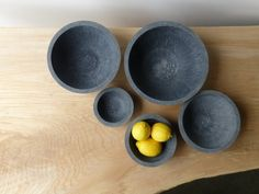 Hand made concrete bowls. Cast using a composite concrete available in white, light gray, gray, or charcoal color. Perfect as a fruit bowl or Concrete Bowl, Concrete Art, Decorative Wall Hooks, Beton Diy, Concrete Projects, Concrete Crafts, Diy Projects, Fruit Party, New Fruit
