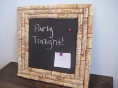 DIY wine cork chalk board