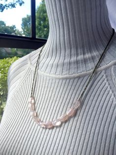 Dainty and simple, rose quartz necklace. Long, layering jewelry. Pink & gray…