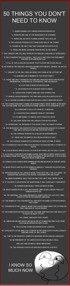 50 Things You Don't Need to Know...I feel so much smarter now!