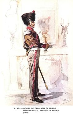 Portuguese Cavalry Officer from Napoleon's Portuguese Legion - 1812 Napoleonic Wars, Military History, Empire, France, Soldiers, British, Prints, Armed Forces, Military Uniforms