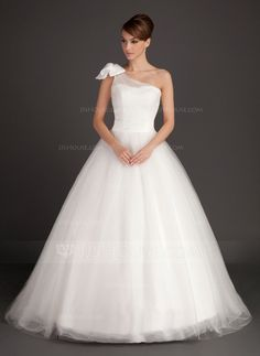 Wedding Dresses - $184.99 - Ball-Gown One-Shoulder Sweep Train Satin Tulle Wedding Dress With Ruffle Bow(s) (002015487) http://jjshouse.com/Ball-Gown-One-Shoulder-Sweep-Train-Satin-Tulle-Wedding-Dress-With-Ruffle-Bow-S-002015487-g15487