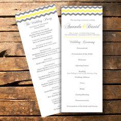 Chevron Wedding Program Printable -- Etsy -- 2BsCraftsandDesigns
