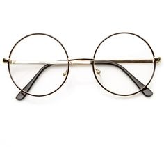 Vintage Lennon Inspired Clear Lens Round Frame Glasses 9222 (73 GTQ) ❤ liked on Polyvore featuring accessories, eyewear, eyeglasses, circle lens glasses, clear glasses, round glasses, circle eyeglasses and round lens glasses