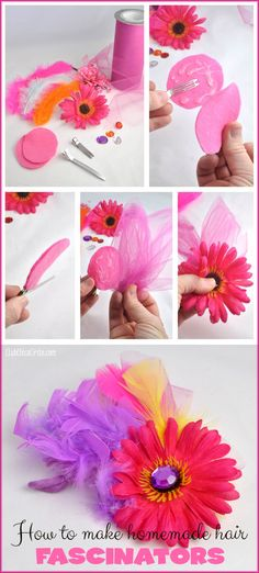 Homemade Hair Fascinators Craft DIY - super easy and fun party craft idea - or just a great simple way to accessorize!