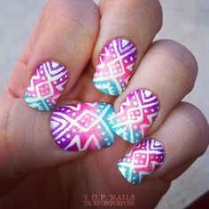 Cool Tribal Nail Art Designs, Tribal nails are created with curving and angular lines. This type of nail art incorporates bold patterns, colors and shapes. Tribal nail art worked t. Gorgeous Nails, Love Nails, Pretty Nails, Amazing Nails, Style Nails, Crazy Nails, Nails Ideias, Tribal Nails, Super Cute Nails