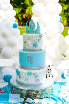 Disney's Frozen inspired birthday party with Such Cute Ideas via Kara's Party Ideas: The Cake