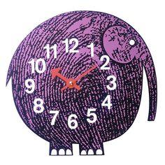 Vitra Zoo Timer Clock - Elihu the Elephant (195 CAD) ❤ liked on Polyvore featuring home, home decor, clocks, purple, battery operated clock, vitra clock, purple clock, battery clock and vitra