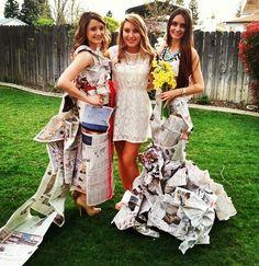 #bridalshower news paper wedding dress contest