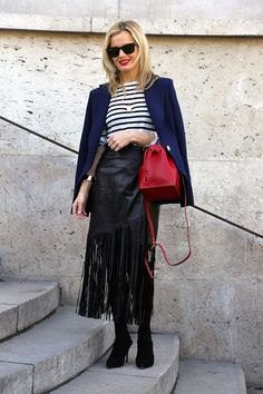 Street Style at Cédric Charlier during Paris Fashion Week | Stripes and fringe.