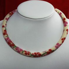 Necklace delicate ivory floral rope necklace red and by ArtCro Rope Necklace, Bridal Necklace, Bridal Jewelry, Beaded Jewelry, Beaded Necklace, Pink Blossom, Red And Pink, Delicate, Ivory