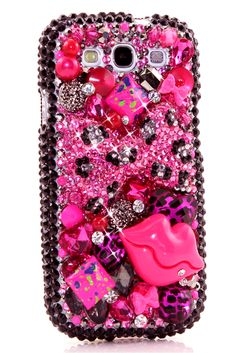 Samsung Galaxy s3 case Pink Leopard Bow and Lips Design unique phone cover glitter for teens fashion