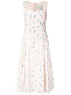 Shop Carolina Herrera printed swallows dress