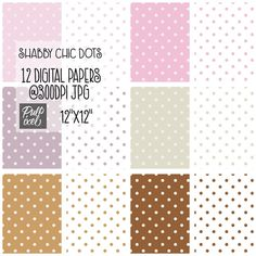 Shabby Chic Dots // Carta Digitale A Pois // di PulpixelDesign