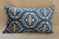 Silk Velvet Ikat Pillow cover 14 x 23 , Blue, Beige Decorative Pillow, Lumbar Pillow, Free Shipment Delivered within 1-3 Days by FEDEX