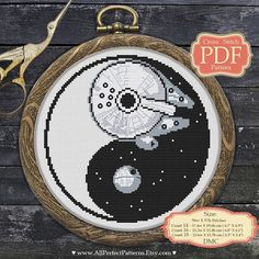 YinYang Cross stitch PDF pattern - Death Star - Millenium Falcon - Star Wars...