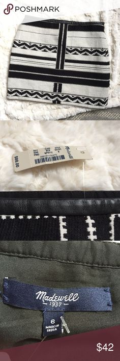"""Madewell mini skirt black and white brand new Size 6 brand new with tags. Leather waist trim. Black and white tribal print. Approximately 15.5"""" waist and 16.5"""" front center length laid flat. Lined in black and has small size zipper with clasp. Beautiful! Madewell Skirts Mini"""