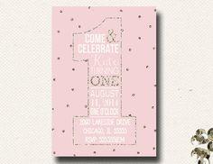 Girls First Birthday Glitter Blush Pink Ivory by DesignOnPaper