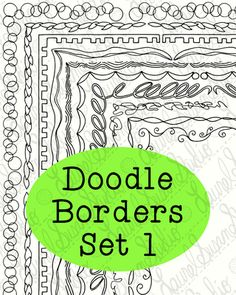 Items similar to Doodle Borders Clip Art Bundle 1 PNG JPG Blackline Commercial Personal Bubbles Leaves Springs Squiggles on Etsy Create Font, Living In North Carolina, Doodle Borders, Border Design, Digi Stamps, Coloring Pages, Commercial, Doodles, Clip Art